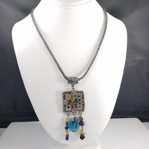 Chico's Rhinestone Dangle Pendant Necklace Silver
